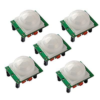 Gowoops 5PCS HC-SR501 Adjust Ir Pyroelectric Infrared PIR Humen Motion Sensor Detector Modules for Arduino UNO R3 Mega 2560 Nano