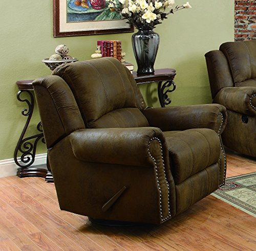 Coaster Home Furnishings Sir Rawlinson Swivel Rocker Recliner Buckskin Brown (Recliner Nailhead)