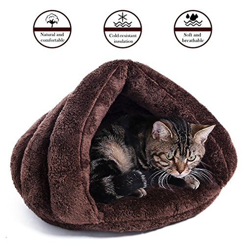 House Winter Soft Self-Warming Sleeping Bag Cat Kitten Dog Puppy Bed Pad Mat Triangle Nest (Brown) (Super Pet Bunny)