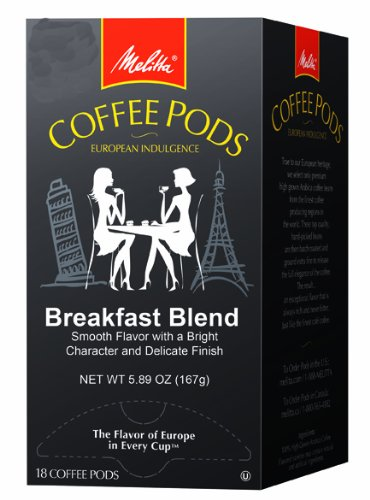 Melitta Coffee Pods, Breakfast Blend, 18-Count, 5.89 oz (Pack of 4)