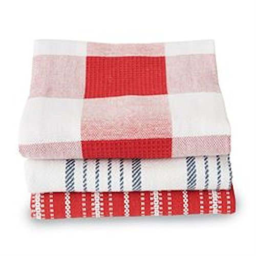 """Mud Pie Red & Navy Dish Towels Set of 3 assorted 20"""" x 28"""""""