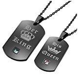 Zysta 2PCS Black Rose Gold Her King His Queen Crown Tags Pendant Rhinestone Couples Necklace Stainless Steel Free Engraving