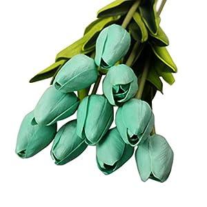 NXDA Artificial Flowers, 10 Tulip Fake Silk Flowers Per Bunch for Home Floor Garden Office Wedding Decor (E) 80