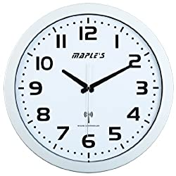 Maple's 15-Inch Wall Clock, Atomic Time Sync, White Face and Silver Bezel