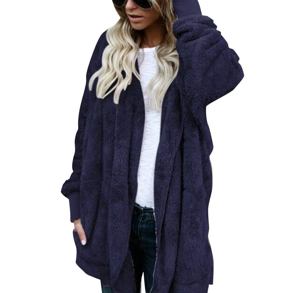 JCYK Women Long Sleeve Hoodie Fleece Sherpa Pullover (XL, blue)