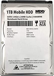 MaxDigitalData 1TB 5400RPM 8MB Cache (9.5mm) SATA 3.0Gb/s 2.5inch Mobile HDD/Notebook Hard Drive - 2 Year Warranty