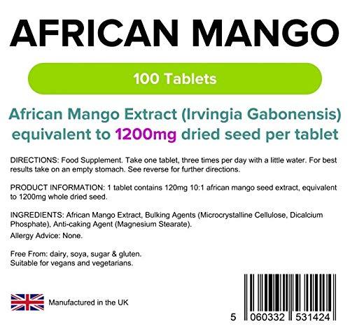 Lindens Mango africano 1200 mg en comprimidos | 100 Paquete | Extracto potente equivalente a 1200 mg de semillas secas: Amazon.es: Salud y cuidado personal