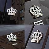 Car Auto Chrome Crown Emblems Badges Stickers Decor (Bling Crown 1 PCS)