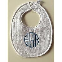 Monogrammed White Seersucker Baby Bib for Baptism & Christening