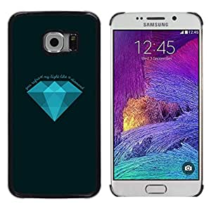 Caucho caso de Shell duro de la cubierta de accesorios de protección BY RAYDREAMMM - Samsung Galaxy S6 EDGE - Diamante Azul