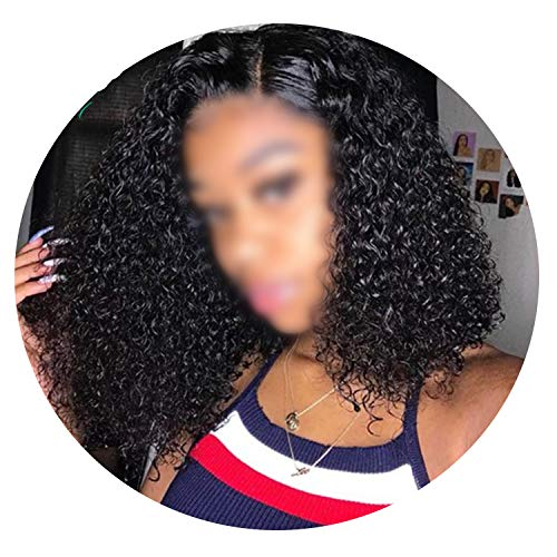 Short Curly Lace Front Human Hair Wigs Brazilian Remy Hair Bob Lace Front Wigs Black Women,12inches