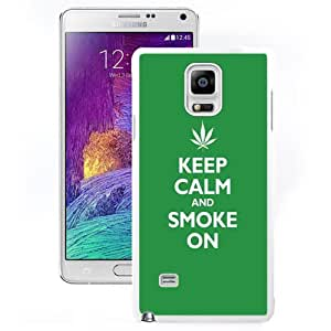 DIY and Fashionable Cell Phone Case Design with Keep Calm And Smoke On Galaxy Note 4 Wallpaper in White
