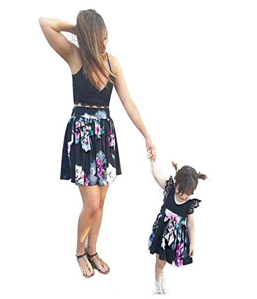 LINNUO Vestido Madre e Hija Tank Top con Encaje & Falda Plisado Mamá Mujeres Vestidos Cocktail
