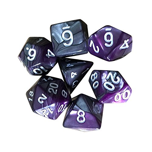 (JPJ(TM) ❤Game Dice❤ 7pcs/Set New TRPG Game Dungeons & Dragons Polyhedral D4-D20 Multi Sided Acrylic Dice)