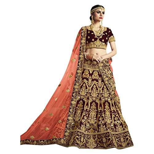 Cotton Chaniya Cholis (Velvet Bridal Wedding Designer Bollywood Women Lehenga Choli Dupatta Ceremony Chaniya Choli Collection 721 6)