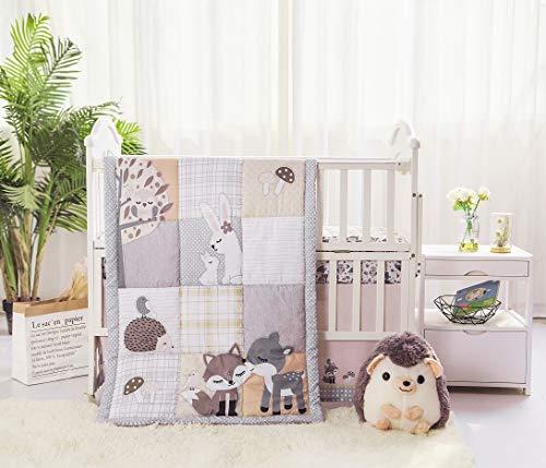 La Premura Woodland Forest Baby Nursery Crib Bedding Set – Fox, Deer, Hoglet & Bunnies 3 Piece Standard Size Crib Set, Gray/Hazel