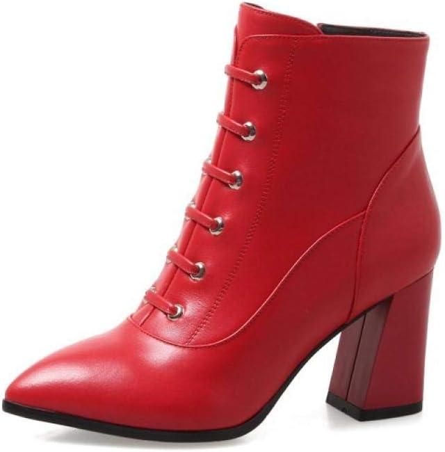 Damen Leder Stiefelies,rot Koreanische Version des Herbst Und Winter Niedrige Rohr Kurze Weibliche Kurze Stiefel Schuhe'S Dicken High Heel Stiefel Damen Wies Martin