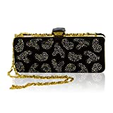 Valentino Orlandi Italian Designer Black Beaded Leather Box Evening Bag Clutch Mini Purse