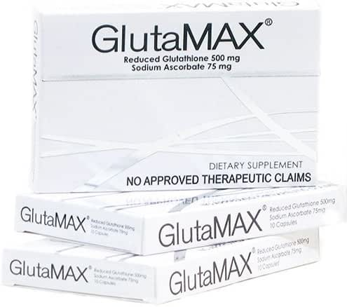 3 Boxes of Glutamax Reduced L-Glutathione & Sodium Ascorbate Capsules - 30 Capsules