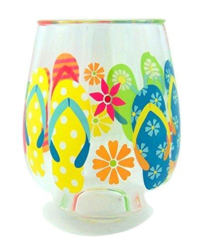 Summer Flip Flops Beach Plastic Wine Glass Tumbler, 16 oz, Pack of 2 -