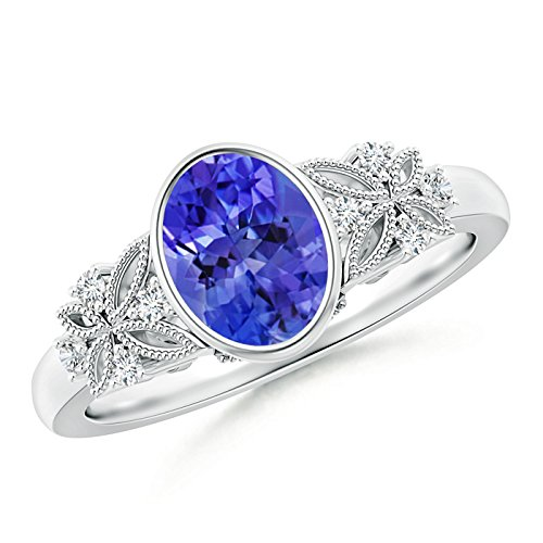 Angara Oval Tanzanite Halo Ring with Brown Diamond Accents aN319o2yOP