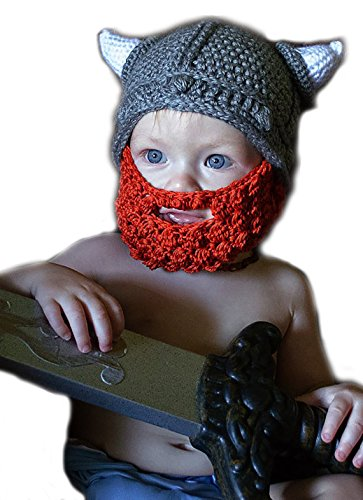 Kids Crochet Viking Hat with Beard and Horns for Baby Boy Toddler or Infant, Knit Style Kids Hat (Small)