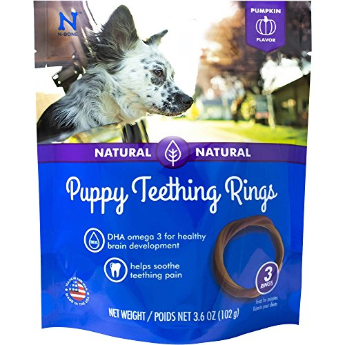 Ring Chew Dog (N-Bone Puppy Teething Ring Pumpkin Flavor, 3.6 oz, 3 Pack)
