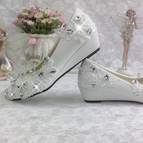 JINGXINSTORE boda nupcial Lace plataforma de Blanco superficial con redondo zapatos wedding blanco tocado con un impermeable diamante boca Crystal Bridesmaid shoes rwq5OHBrC