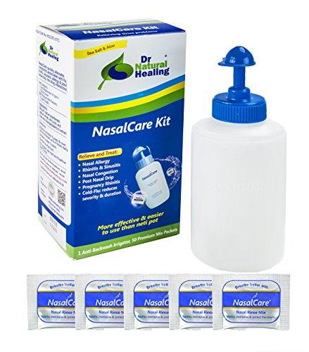 (Dr Natural Healing Award Winning Nasal Irrigator & Sinus Rinse Kit with Premium Mixed Saline Rinse Packs (30-Pack Starter Kit - Adults Only))