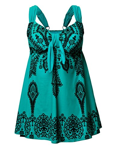 NONWE Women's Plus-Size Swimsuit Retro Print Two Piece Tankini Swimwear Tile Blue