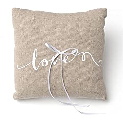 Love Script Linen Ring Bearer Pillow