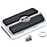 Krator Chrome Brake Pedal Pad Cover Black NonSlip Rubber For Harley Davidson Electra Glides 1980-2015