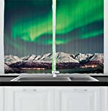 Ambesonne Nature Decor Kitchen Curtains, Aurora above Fjords Magical Nordic Northern Lights Sky Arctic Solar Scenery, Window Drapes 2 Panels Set for Kitchen Cafe, 55W X 39L Inches, Jade Green