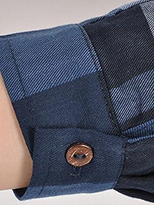 MissLook Women's 3/4 Sleeve Checkered Plaid Loose Shift Shirt Dress