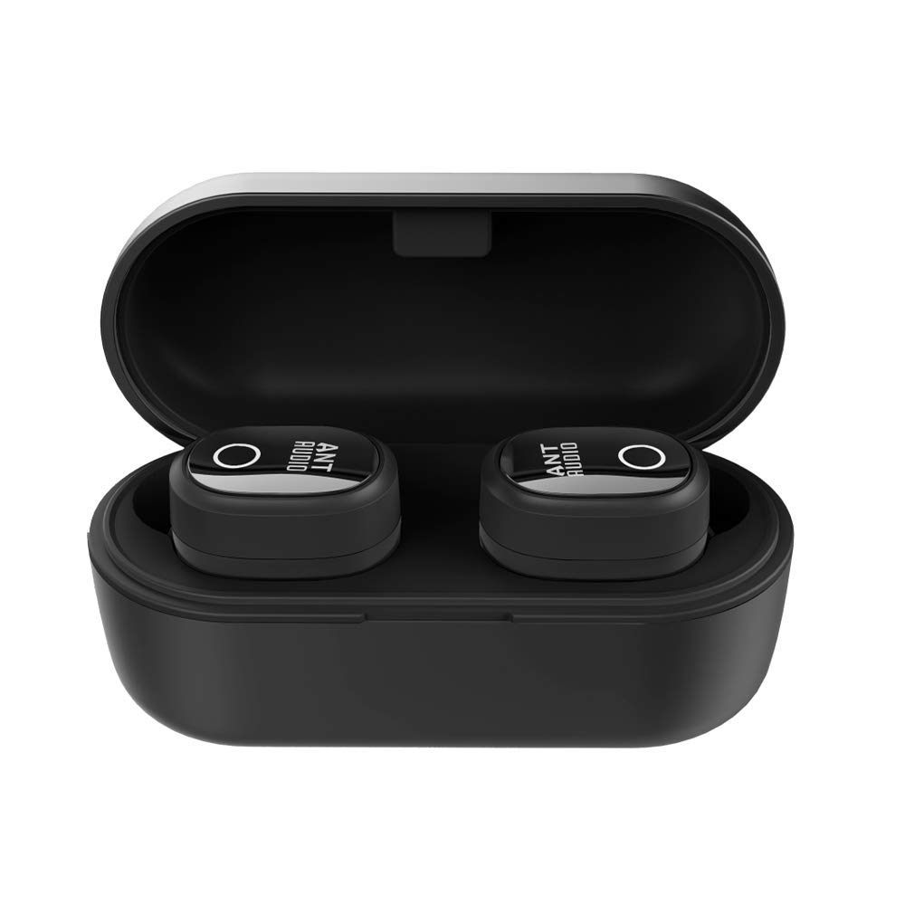 Ant Audio Wave Sports TWS 720 Bluetooth 5.0 Wireless Earbuds IPX5 with Long-Lasting Bass Headset Stereo Headphones in-Ear Dual Channel Earphones Built-in Mic with Charging Case - Black
