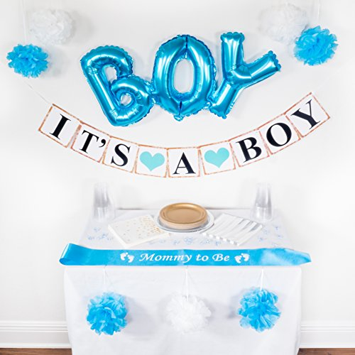 EnK Essentials Baby Shower Decorations for a Boy (30-Piece Set) Newborn Gender Reveal Decor for Parties, Events | Balloon, Pom-Poms, Banner, Pacifiers, Mommy to Be Sash -