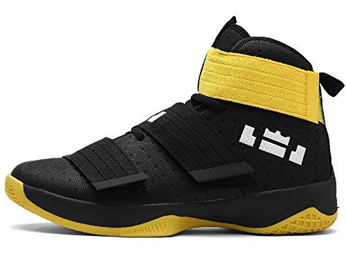 No.66 Heren Echtpaar Heren Hoge-top Loopschoenen Mode Sneaker, Basketbalschoenen Zwart Geel
