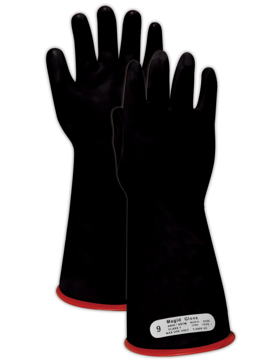 Magid M1 A.R.C. Natural Latex Rubber Class 1 Insulating Glove with Straight Cuff, Work, 14 Length, Size 8, Black/Red by Magid Glove & Safety  B00BAZZQMQ