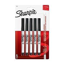Sharpie ULTRA FINE POINT Marker Permanent,  Permanent Marker Ultra Fine, 5-Carded, Black Ink (37665PP)