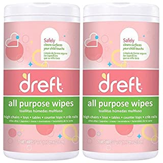 Dreft Multi-Surface All-Purpose Gentle Cleaning Wipes for Baby Toys, Car Seat, High Chair & More, 70 Count, Pack of 2