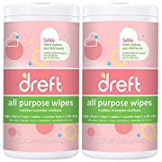 Dreft Multi-Surface All-Purpose Cleaning Wipes for Baby Toys, Car Seat, High Chair & More (Pack of 2)