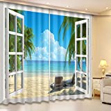 LB 3D Blackout Curtains for Bedroom and Living Room, Ocean Collection 2 Panels Window Curtains, Image of Window Opens to the Blue Ocean, 55Wx65L(Size of 2 Panels)
