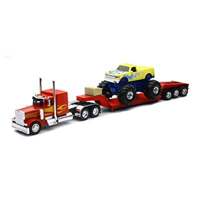 New Ray New 1:32 NEWRAY Truck & Trailer Collection - RED Peterbilt Model 379 LOWBOY with Monster Truck Diecast Model Toys: Toys & Games
