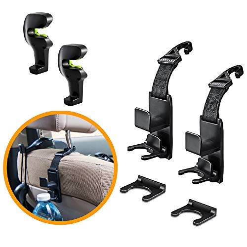 Car Headrest Hooks Organizer for ultimate storage solution, Universal-backseat purse hanger way choose if you can have the best of both. 4-Pack back seat cars hook orgenize your Handbags Purses Coat