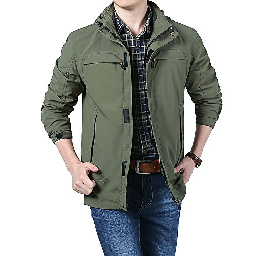 Varsity Dance Costumes - ELEPHANT DANCING Men's Casual Lightweight Sportswear Soft & Breathable Jacket, Green