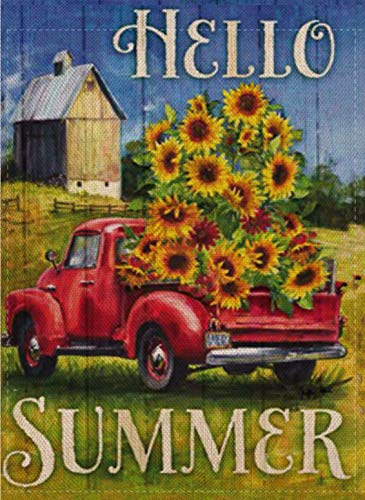 Selmad Hello Summer Garden Flag Sunflower Sunshine Flower Red Farm Truck Double Sided, Burlap Decorative House Yard Decoration, Floral Farmhouse Country Seasonal Home Outdoor Vintage Décor 12 x 18
