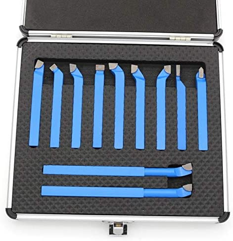 11PC Lathe Cutting Tools 8mm Carbide Tipped Cutter Bit External Turning Tool Kit