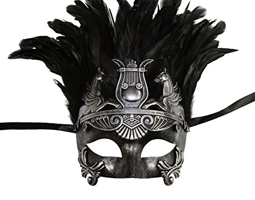 KAYSO INC The Spartacus Men's Roman Gladiator Masquerade Mask (Vintage Silver)