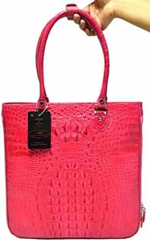 Authentic M Crocodile Skin Womens Hornback Leather Bag Tote Zipper Handbag 751ba57b597a7