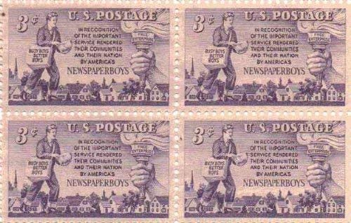 Newspaper Boy Set of 4 X 3 Cent Us Postage Stamps Scot #1015a